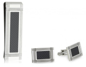 Men's Stainless Steel Money Clip and Cuff Link Box Set