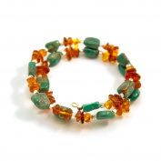 """Amber and Turquoise Nuggets """"Amber Waves"""" Bracelet"""