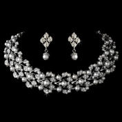 Bridal Wedding Jewellery Set Rhinestone Pearl Leaf White