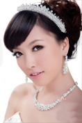 Purplelan- Fashion Vintage Style Bridal Jewellery Set Necklace/Earrings/Crown Wedding Jelwery Ko1N3