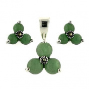 Marcasite Sterling Silver Genuine Green Jade Triangle Flower arrangement Earring and Pendant Set 40.6cm Chain