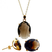 Faceted Smoky quartz oval cabochon necklace and earrings set