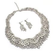 Bridal Wedding Jewellery Set Crystal Rhinestones Stunning Bib Necklace Silver