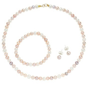 Pearlyta 14k Gold Multi Coloured Cultured Pearl Kids Set, Necklace, Bracelet, Stud Earrings for Girls