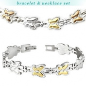 316L Stainless Steel Tri-Tone Butterfly Bracelet & Necklace Combo Set