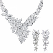 JanKuo Jewellery Silver Tone Fancy Prom, Bridal Floral C.Z Necklace and Earrings Set