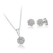 10K White Gold Diamond Floral Cluster Earrings and Pendant with Box Chain, Set