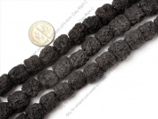"12x14mm column gemstone black lava rock beads strand 15"""