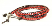 Neptune Giftware Mens Dark Brown Double Leather Cord & Coloured Bead Wrap Around Leather Bracelet / Leather Wristband / Surf Bracelet - 87