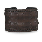 Mens Brown Leather Cuff Bracelet Adjustable to Fit Anyone