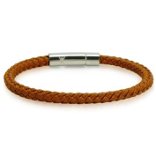 Braided Brown Leather Mens Bracelet 6 mm 8 1/2 inches with Locking Stainless Steel Clasp