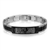 Bling Jewellery Black Two Tone Lords Prayer Mens Stainless Steel Cross Bracelet 21.6cm