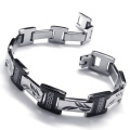 KONOV Jewellery Stainless Steel Bracelet - Black Silver - 21.3cm