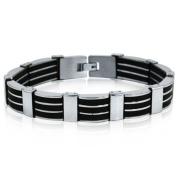 Men's Stainless Steel 3-Row Black Rubber Bracelet 21cm