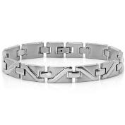 Mens Stainless Steel Solid Patterned Link Bracelet 21.6cm