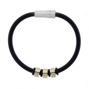 Men's Stainless Steel Black Rubber with Gold Ion Plating Bracelet, 20.3cm