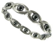 Rochet Roma Hematite Circle Solid Stainless Steel Modern Mens Bracelet