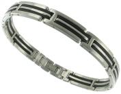 Rochet Roma Slick Black Link Design Solid Stainless Steel Black Modern Mens Bracelet