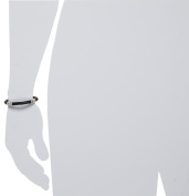 Zina Sterling Silver Men's Stratus Bracelet With Leather Strap Silver
