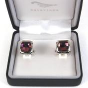 Silver J Crystal cufflinks, handmade designer gift, purple square