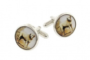 JJ Weston yellow labrador cufflinks with presentation box. Made in the USA