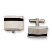 Stainless Steel Black Accent Cuff Links - JewelryWeb