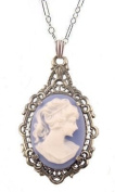 Antique Style Silver Filigree Framed Blue Resin Cameo Pendant