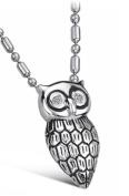 Brand New Titanium Pendant Necklace Cubic Zirconia Stone Owl Creative . Korean Style in a Gift Box