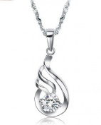 Women's Platinum Plated Sterling Sliver Cubic Zirconia Stone Pendant Necklace Simple Korean Style