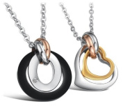 His & Hers Matching Set Follow Your Heart Couple Titanium Pendant Necklace Simple Korean Love Style in a Gift Box