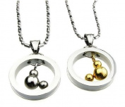 His & Hers Matching Set Mickey . Couple Titanium Pendant Necklace Simple Korean Love Style in a Gift Box
