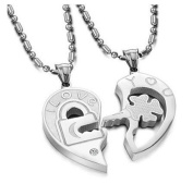 His & Hers Matching Set Open Your Heart Couple Titanium Pendant Necklace Simple Korean Love Style in a Gift Box