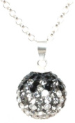 DECORUM JEWELLERY black ,clear and grey. crystal ball shaped necklace on a 45cm Rolo chain. Made with solid sterling silver 925.and. crystals.