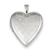 Sterling Silver 20mm Quilt Design Heart Locket
