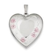 Sterling Silver 24mm Enamelled Floral Border Heart Locket