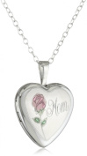 """Momento Lockets Sterling Silver Heart Shaped """"Mom"""" Locket with Rose Necklace"""