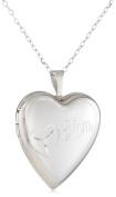 Momento Lockets Sterling Silver 0.01Ct Heart Shaped Locket Diamond Necklace