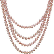 HinsonGayle Glamour Collection Handpicked Ultra-Lustre Naturally Pink Cultured Pearl Rope Necklace