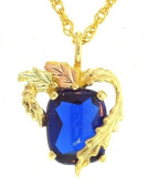 Classy! 10k Yellow-gold Black Hills Gold 10x8mm (September-Birthstone) created Sapphire pendant-necklace