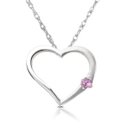 Pink Sapphire set in 14K White Gold Heart Shaped Pendant