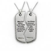 Sterling Silver Antiqued Military Dog Tag For Two 45.7cm Necklaces - JewelryWeb