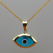14k Yellow Gold Evil Eye Pendant with 40.6cm Gold Chain