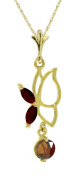 14k Solid Gold 45.7cm Necklace with Garnet Butterfly Pendant