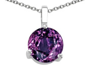 Tommaso Design(tm) 7mm Round Simulated Alexandrite Pendant in 14 kt White Gold