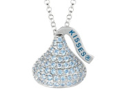 March Birthstone CZ's Medium Flat Back Shaped Hershey`s Kiss Pendant- Free 16 to 45.7cm Adjustable Chain Included in 925 Sterling Silver