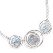 Triple Circle Hoope Ancient Roman Glass Necklace Sterling Silver Handcrafted in Israel