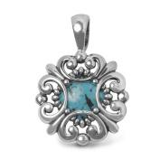 Southwest Spirit Sterling Silver Turquoise Scalloped Pendant Enhancer