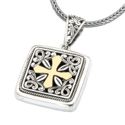 925 Silver Square Celtic Cross Pendant with 18k Gold Accents