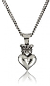 King Baby 45.7cm Curb Link Chain with 3D Crowned Heart Pendant Necklace