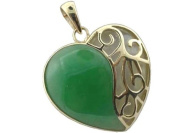 Green Jade and White Mother Of Pearl Uncovered Heart Pendant, 14k Gold